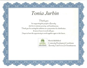 2016 Certificate for Tonia